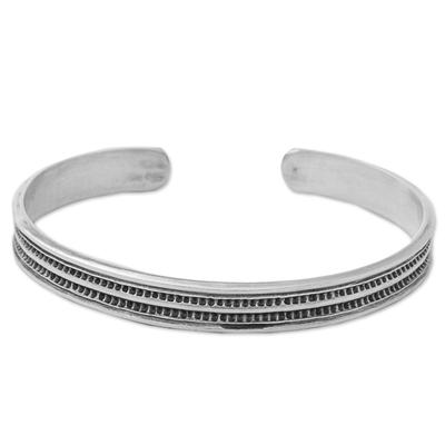 Sterling silver cuff bracelet, 'Sterling Hope' - Karen Sterling Silver Inscribed Cuff Bracelet Thailand