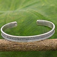 Sterling silver cuff bracelet, 'Sterling Peace' - Karen Hill Tribe Sterling Silver Cuff Bracelet Thailand