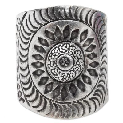 Sterling silver wrap ring, 'Karen Aster' - Hand Made Sterling Silver Wrap Ring Floral Thailand