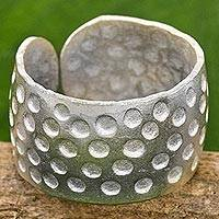 Silver wrap ring, 'Dotted Hills' - Hand Made Karen Silver Wrap Ring Dot Motifs Thailand