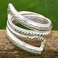 Sterling silver wrap ring, 'Snake Path' - High Polish Textured Sterling Silver Wrap Ring Thailand