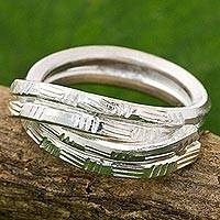 Sterling silver cocktail ring, 'Layers of Love' - Sterling Silver Cocktail Ring Karen Tribe from Thailand
