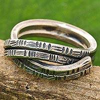Sterling silver cocktail ring, 'Layers of Friendship' - Karen Sterling Silver 2 Layer Ring from Thailand