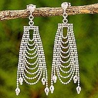 Sterling silver chandelier earrings, 'Silver Gowns' - Original Sterling Silver Chandelier Earrings from Thailand
