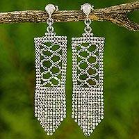 Sterling silver waterfall earrings, 'Sparkling Waterfalls' - Sterling Silver Rectangle Waterfall Earrings from Thailand