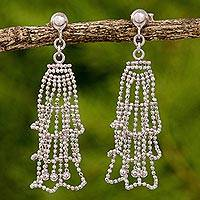 Sterling silver chandelier earrings, 'Ruffled Dresses' - Sterling Silver Ruffled Chandelier Earrings from Thailand