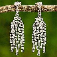 Sterling silver waterfall earrings, 'Dangling Fringes' - Sterling Silver Webbed Chandelier Earrings from Thailand