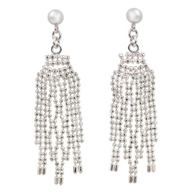 Sterling Silver Webbed Chandelier Earrings from Thailand
