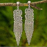 Sterling silver waterfall earrings, 'Curtain Call' - Thai Handcrafted Sterling Silver Waterfall Earrings