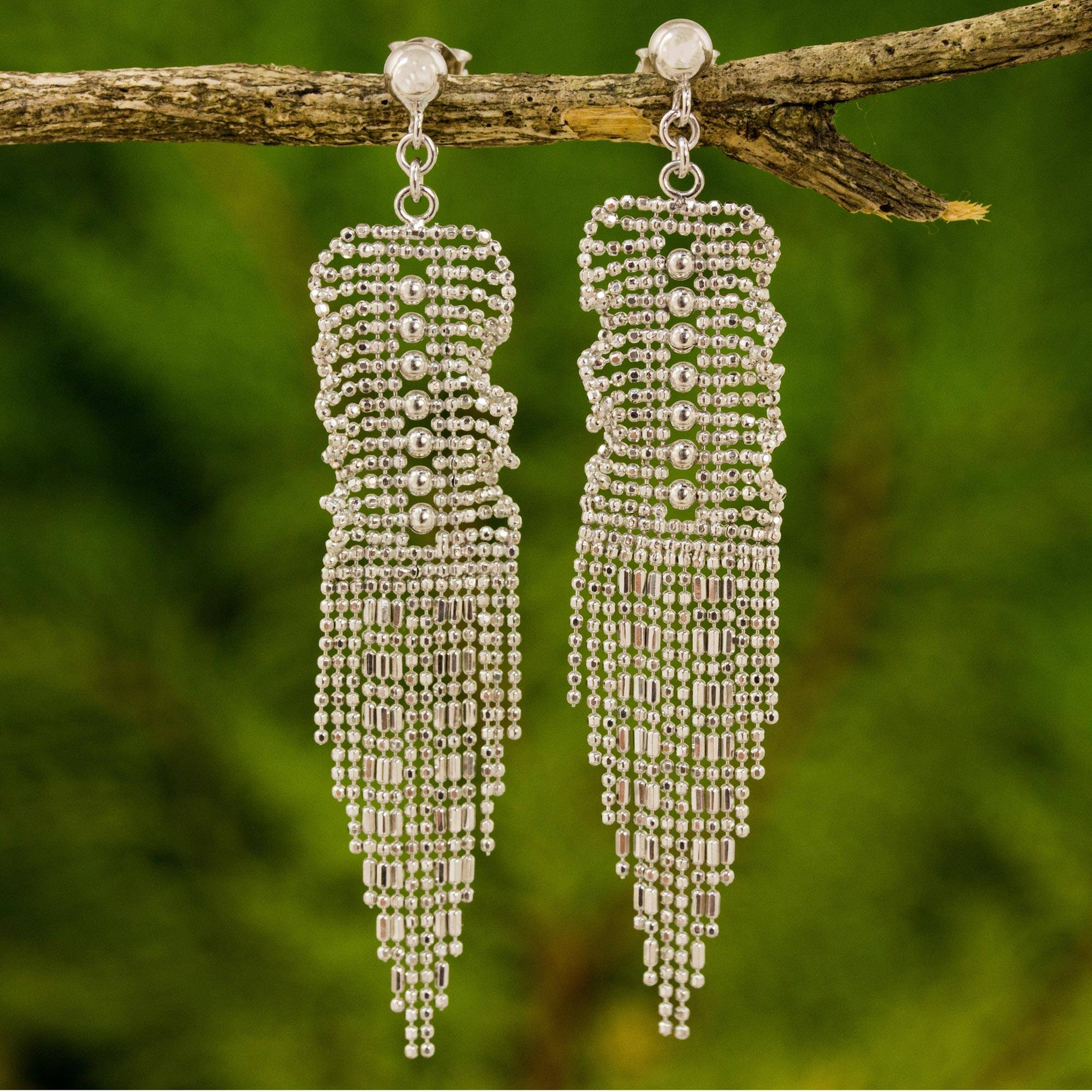 861768f7e Thai Handcrafted Sterling Silver Waterfall Earrings - Curtain Call ...