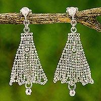Sterling silver chandelier earrings, 'Silver Skirts' - Sterling Silver Chandelier Earrings Skirt Pattern Thailand