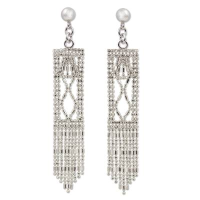 Sterling Silver Rectangle Waterfall Earrings from Thailand