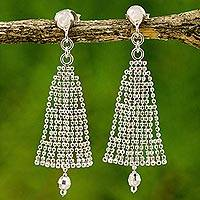 Sterling silver chandelier earrings, 'Evergreen Trees' - Festive Sterling Silver Chandelier Earrings from Thailand