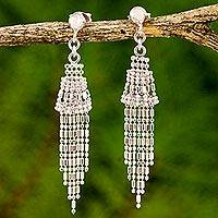 Sterling silver waterfall earrings, 'Raining Bells' - Ball Chain Sterling Silver Waterfall Earrings Thailand