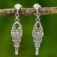 Sterling silver chandelier earrings, 'Ballroom Chandeliers' - Sterling Silver Drop Shape Chandelier Earrings from Thailand