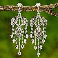 Sterling silver chandelier earrings, 'Ballroom Dancer' - Ornate Silver Chandelier Earrings Handcrafted in Thailand