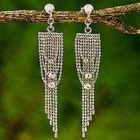 Sterling silver waterfall earrings, 'Noble Gowns' - Sterling Silver Post Waterfall Earrings with Beads