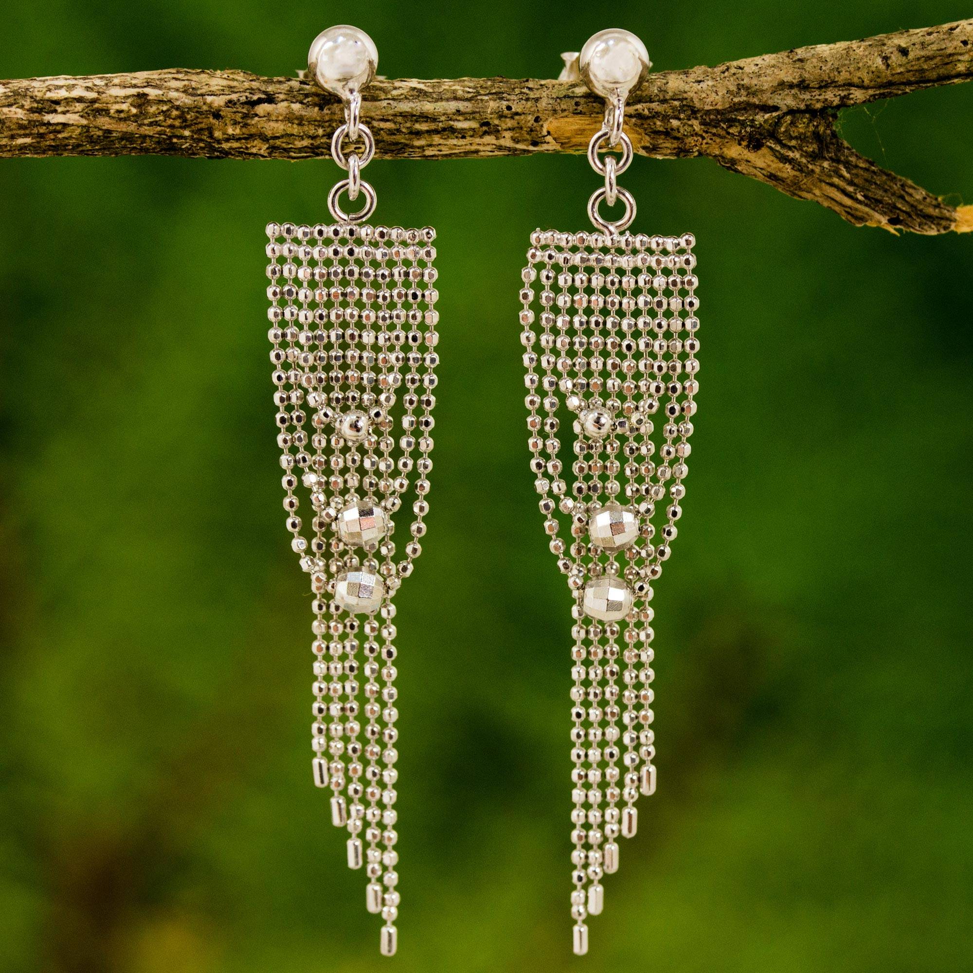 f047626e6 Sterling Silver Post Waterfall Earrings with Beads - Noble Gowns ...