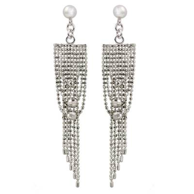 Sterling Silver Post Waterfall Earrings with Beads