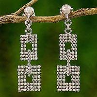 Sterling silver dangle earrings, 'Bangkok Palace' - Artisan Crafted Thai Dangle Earrings in Sterling Silver
