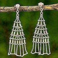 Sterling silver dangle earrings, 'Holiday Trees' - Modern Thai Sterling Silver Dangle Earrings Crafted by Hand