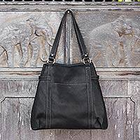 Leather shoulder bag, 'Easy Journey' - Black Leather Shoulder Handbag with Zip and Snap Pockets