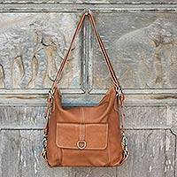 Leather backpack shoulder bag, 'Happy Journey' - Handcrafted Shoulder Bag and Backpack in Honey Brown Leather