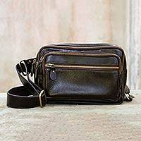 Dark brown leather waist pack, 'Let's Walk' - Dark Brown Leather Waist Pack with Five Zip Compartments