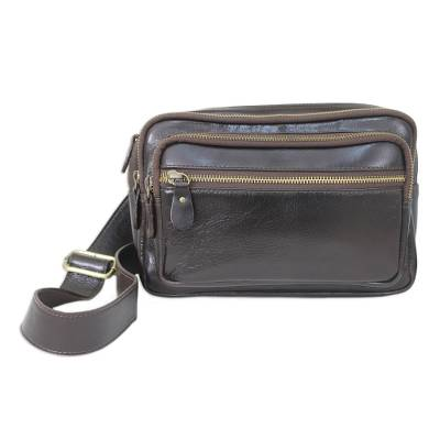 Novica Black leather waist pack, Lets Walk