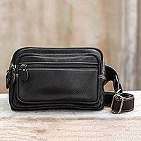 Black leather waist pack, 'Let's Walk' - Black Leather Waist Pack with Five Zip Compartments