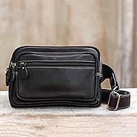 Novica Dark brown leather waist pack, Lets Walk