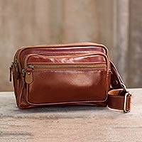 Light brown leather waist pack, 'Let's Walk' - Light Brown Leather Waist Pack with Five Zip Compartments