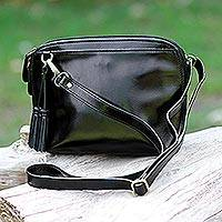 Leather shoulder bag, 'Compact Style' - Thai Compact Black Leather Handcrafted Shoulder Bag