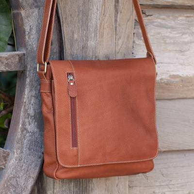 Leather messenger bag, Purposeful in Russet
