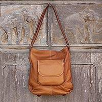 Leather backpack shoulder bag, 'Peaceful Journey' - Honey Brown Leather Handcrafted Shoulder Bag and Backpack