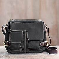 Leather shoulder bag, 'Travel Smart in Black' - Thai Black Leather Shoulder Bag with 7 Pockets
