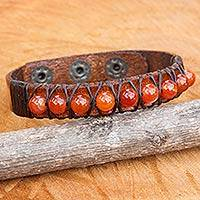 Carnelian and leather wristband bracelet, 'Rock Walk in Orange'