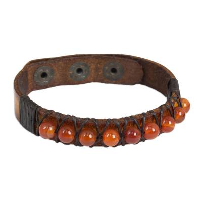 Hand Crafted Carnelian and Leather Band Bracelet