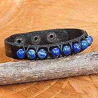 Lapis lazuli and leather wristband bracelet, 'Rock Walk in Blue'