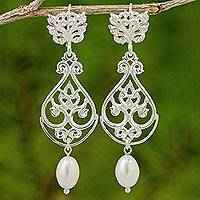 Cultured pearl and sterling silver dangle earrings,