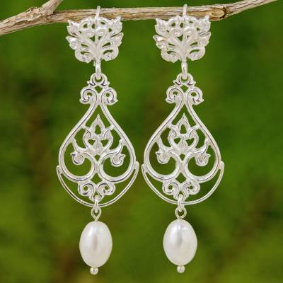 Cultured pearl and sterling silver dangle earrings, 'Thai Chandelier in White' - Artisan Crafted Cultured Pearl and Sterling Silver Earrings