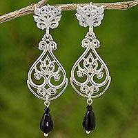 Onyx and sterling silver dangle earrings, 'Thai Chandelier in Black' - Onyx and Sterling Silver Dangle Earrings from Thailand