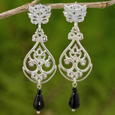 Onyx and sterling silver dangle earrings, Thai Chandelier in Black
