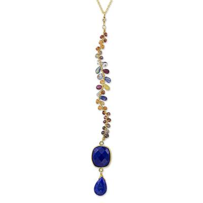 Blue Lapis Lazuli and Jewel-Toned Sapphire Y-Necklace