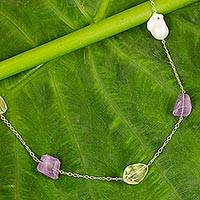 Gold plated multi-gemstone long station necklace,