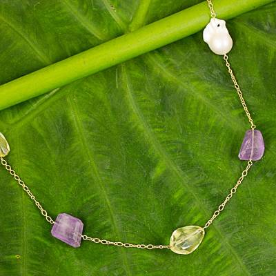 Gold plated multi-gemstone long station necklace, 'Radiant Nature' - Multigem Necklace with Amethyst, Quartz, Pearl, and Iolite
