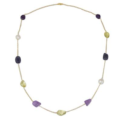 Multigem Necklace with Amethyst, Quartz, Pearl, and Iolite