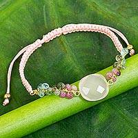 Multi-gemstone pendant bracelet, 'Jewel of the Sand' - Pink Chalcedony Beaded and Macrame Handmade Bracelet