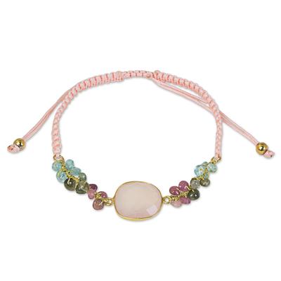 Pink Chalcedony Beaded and Macrame Handmade Bracelet