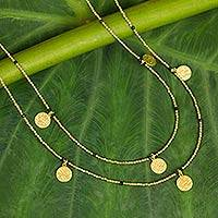 Gold plated onyx waterfall necklace, 'Golden Rain' - Onyx Accent Thai Long Necklace in 24k Gold Plated Brass